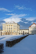 Nymphenburg Framed Prints - Nymphenburg palace in winter snow Framed Print by Andrew  Michael