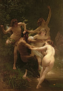 Girls Painting Framed Prints - Nymphs and Satyr Framed Print by William Adolphe Bouguereau