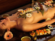 Ethnic Framed Prints - Nyotaimori Body Sushi Framed Print by Oleksiy Maksymenko