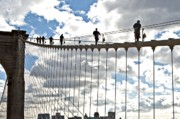 Brooklyn Bridge Prints - Nypd Bklyn Bridge Drill Print by Allan Einhorn