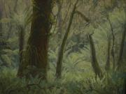 Terry Perham Art - NZ Bush Interior 1976 by Terry Perham