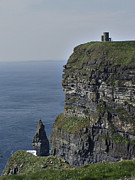 Moher Prints - O Briens Tower at the Cliffs of Moher Ireland Print by Teresa Mucha