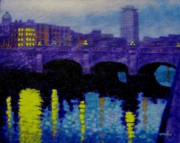 Landscape Greeting Cards Painting Framed Prints - O Connell Bridge - Dublin Framed Print by John  Nolan