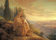 Looking Down Framed Prints - O Jerusalem Framed Print by Greg Olsen