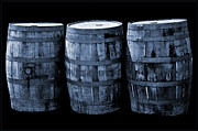 Wine Barrel Photos - Oak Barrel Cynotype Blue by LeeAnn McLaneGoetz McLaneGoetzStudioLLCcom