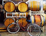 Wine Country Posters - Oak Barrels and Bicycle Poster by Margaret Hood