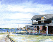 Massachusetts Pastels Posters - Oak Bluffs Winter Poster by Paul Gardner