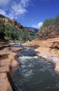 Slide Rock Posters - Oak Creek Flowing Through The Red Rocks Poster by Rich Reid