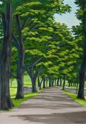 University Of Illinois Painting Originals - Oak Drive by Charlotte Blanchard