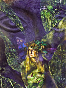 Elvin Posters - Oak Faerie Face in the Tree Poster by Cyoakha Grace