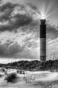 White Lighthouse.light Photos - Oak Island in Black and White by JC Findley