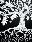 Nature Print Drawings - Oak Leaves Fall by Emily Jones