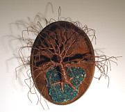 Work Sculptures - Oak on Oval Base - Wire Tree by Sal Villano