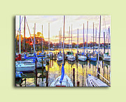 Docked Sailboats Posters - Oak Pt Harbor Evening Poster by Brian Wallace