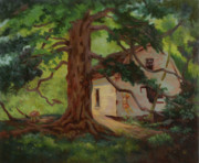 Child Swinging Paintings - Oak Tree Friend by Bruce Zboray