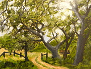 Dirt Road Paintings - Oaks by Julie Sauer