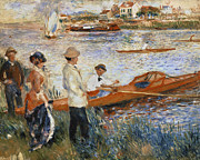 Boats On Water Framed Prints - Oarsmen at Chatou Framed Print by Pierre Auguste Renoir