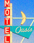 Motel Digital Art Prints - Oasis Motel Tulsa Oklahoma Print by Wingsdomain Art and Photography