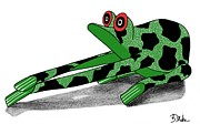 Woodcarving Prints - Oaxacan Frog Print by Barbara Drake