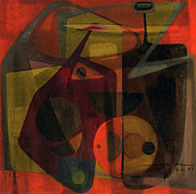 Latin American Paintings - OB1957AR001BA Allegory of Tension 10.5x10 by Alfredo Da Silva