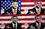 Obama Mixed Media Metal Prints - Obama 2 Metal Print by Jorge Berlato