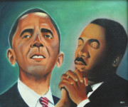 Barack Obama Painting Framed Prints - Obama and King Framed Print by Harry Ellis