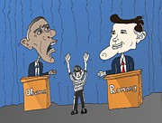 Barack Obama Mixed Media - Obama and Romney debate cartoon by OptionsClick BlogArt