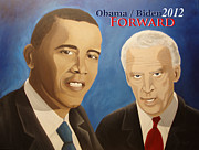 Biden Prints - Obama-Biden-Forward Print by L Lee