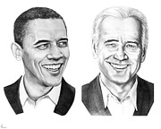 Political Drawings Framed Prints - Obama Biden Framed Print by Murphy Elliott
