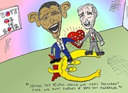 Presidential Mixed Media - Obama Biden stand up for what matters caricature by OptionsClick BlogArt