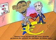 News Mixed Media - Obama Et Biden Lamour Et Leuro by OptionsClick BlogArt