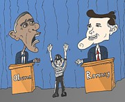 Barack Obama Mixed Media - Obama et Romney debat anime by OptionsClick BlogArt