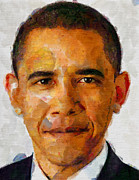 Barack Obama Digital Art Originals - Obama face by Boguslaw Florjan