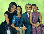 First Lady Paintings - Obama Family 3 by Henry Frison