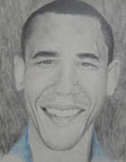 Obama Drawings Drawings Posters - Obama GQ Poster by Kevin  Williams