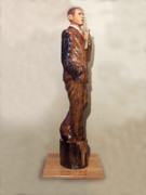 Obama Sculpture Prints - Obama in a Red Oak Log Print by Robert Crowell