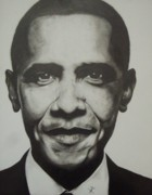 Barack Drawings Posters - Obama Poster by Jane Nwagbo