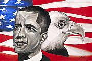 Obama Mixed Media Metal Prints - Obama Metal Print by Keith  Thurman