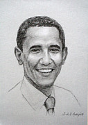 Obama Drawings Framed Prints - Obama Framed Print by Leah Hopkins Henry