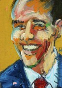 Barack Obama Painting Framed Prints - Obama Framed Print by Les Leffingwell
