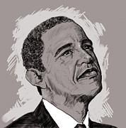 Obama Drawings Posters - Obama Poster by Malik Shamshad