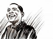 Pencil Portrait Prints - Obama Print by Michael Facey