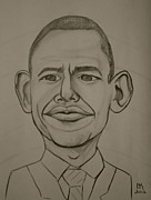 Obama Drawings Framed Prints - Obama Framed Print by Pete Maier