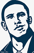 Barrack Obama Drawings - Obama by Pramod Masurkar