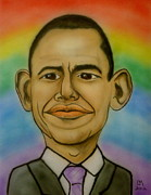 Barack Obama Drawings Prints - Obama Rainbow Print by Pete Maier