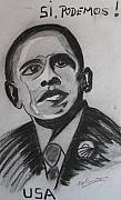 President Pastels Prints - Obama Print by Roger Cummiskey
