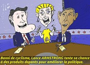 Cyclisme Art - Obama Romney Armstrong caricature politique by OptionsClick BlogArt
