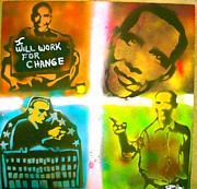 Barack Obama Painting Prints - Obama Squared Print by Tony B Conscious
