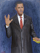 Democrat Painting Framed Prints - Obama Taking the Oath of Office Framed Print by TC North