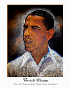 Obama Pastels Framed Prints - Obama. The 44th President. Framed Print by Fred Makubuya